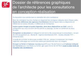 Dossier de r f rences graphiques  de l architecte pour les consultations en conception-r alisation