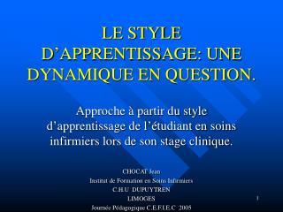 LE STYLE D APPRENTISSAGE: UNE DYNAMIQUE EN QUESTION.