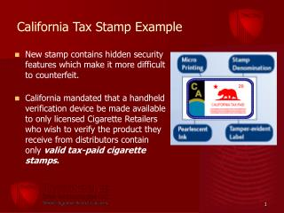 California Tax Stamp Example