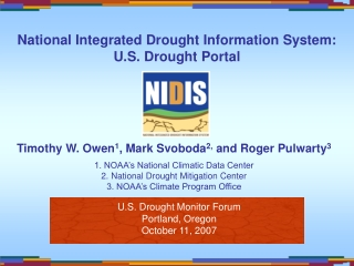 Roger S Pulwarty NIDIS Director  NOAA