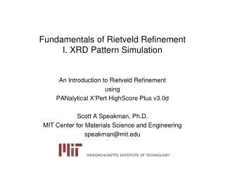 Fundamentals of Rietveld Refinement I. XRD Pattern Simulation