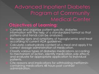 Advanced Inpatient Diabetes                     Program at Community