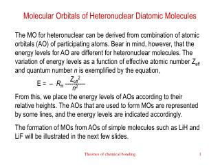 Molecular Orbitals of Heteronuclear Diatomic Molecules