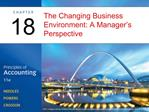The Changing Business Environment: A Manager s Perspective