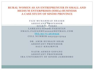 RURAL WOMEN AS AN ENTREPRENUER IN SMALL AND MEDIUM ENTERPRISES SMEs BUSINESS  A CASE STUDY OF SINDH PROVINCE