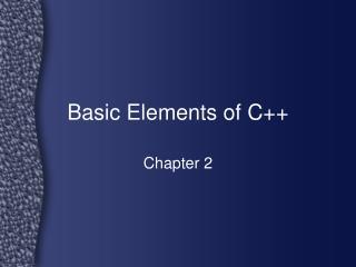 Basic Elements of C