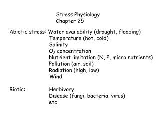 Stress Physiology Chapter 25
