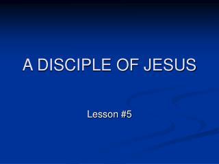 A DISCIPLE OF JESUS