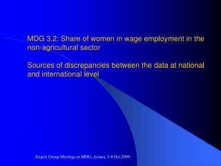 Expert Group Meeting on MDG, Astana, 5-8 Oct.2009