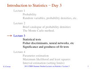 Introduction to Statistics - Day 3