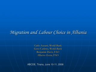 Migration and Labour Choice in Albania