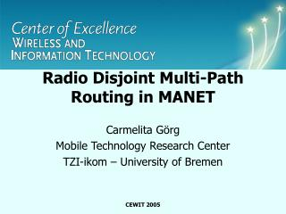 Radio Disjoint Multi-Path Routing in MANET