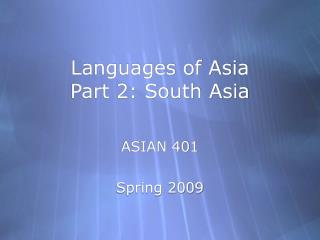 Languages of Asia Part 2: South Asia