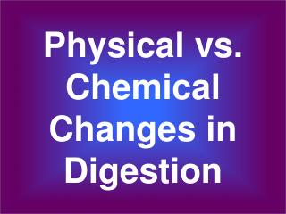 Physical vs. Chemical Changes in Digestion