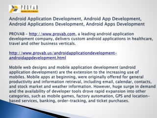 Android Application Development, Android App Development