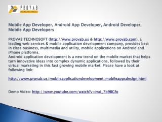 Mobile App Developer, Android App Developer