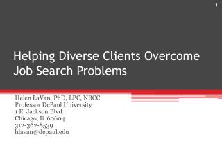 Helping Diverse Clients Overcome Job Search Problems