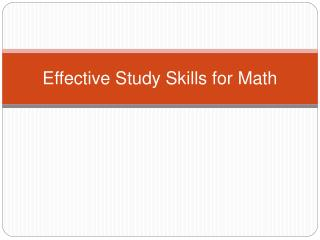 Effective Study Skills for Math