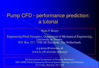 Pump CFD - performance prediction:  a tutorial