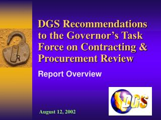 DGS Recommendations to the Governor s Task Force on Contracting  Procurement Review