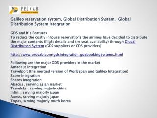 Galileo reservation system, Global Distribution System