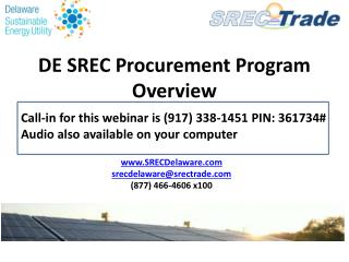 DE SREC Procurement Program Overview