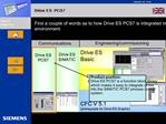 First a couple of words as to how Drive ES PCS7 is integrated in the product environment.