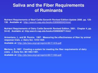 Saliva and the Fiber Requirements of Ruminants