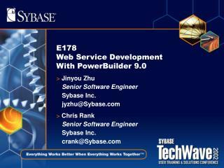 E178  Web Service Development With PowerBuilder 9.0