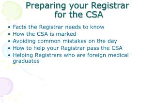 Preparing your Registrar  for the CSA