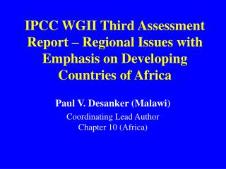 IPCC WGII Third Assessment Report   Regional Issues with Emphasis on Developing Countries of Africa