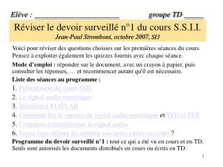 R viser le devoir surveill  n 1 du cours S.S.I.I.   Jean-Paul Stromboni, octobre 2007, SI3