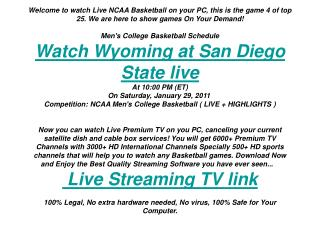 Wyoming at San Diego State live streaming | ncaa mens BB | s