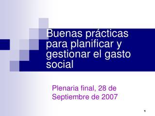 Buenas pr cticas para planificar y gestionar el gasto social