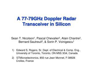 A 77-79GHz Doppler Radar Transceiver in Silicon