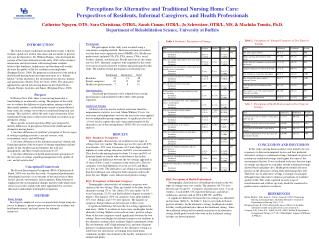 Perceptions for Alternative and Traditional Nursing Home Care:  Perspectives of Residents, Informal Caregivers, and Heal