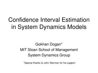 Confidence Interval Estimation in System Dynamics Models