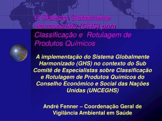 O Sistema Globalmente Harmonizado GHS para Classifica  o e  Rotulagem de Produtos Qu micos