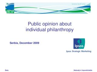 Public opinion about individual philanthropy