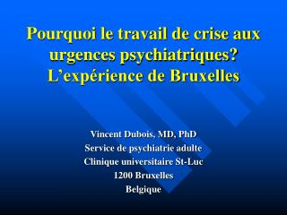 Pourquoi le travail de crise aux urgences psychiatriques L exp rience de Bruxelles