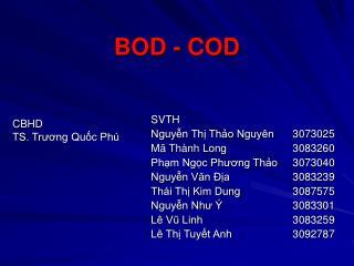 BOD - COD