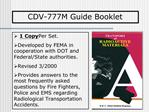 1 Copy Per Set. Developed by FEMA in cooperation with DOT and Federal