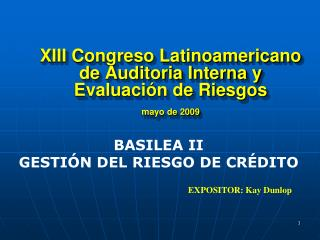 XIII Congreso Latinoamericano de Auditoria Interna y Evaluaci n de Riesgos  mayo de 2009