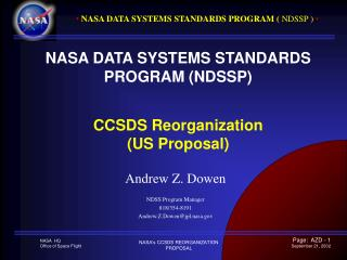NASA DATA SYSTEMS STANDARDS PROGRAM NDSSP   CCSDS Reorganization US Proposal