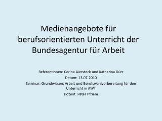 Medienangebote f r berufsorientierten Unterricht der Bundesagentur f r Arbeit