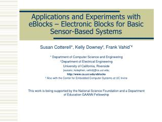 Applications and Experiments with eBlocks   Electronic Blocks for Basic Sensor-Based Systems