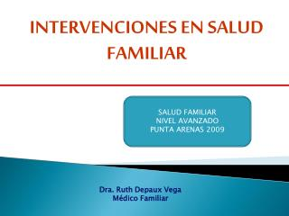 INTERVENCIONES EN SALUD FAMILIAR