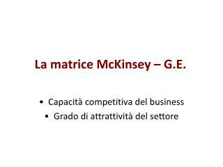 La matrice McKinsey   G.E.