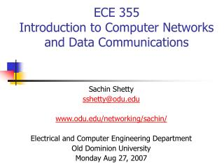 ECE 355 Introduction to Computer Networks and Data Communications