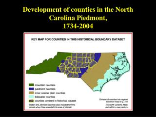 Development of counties in the North Carolina Piedmont, 1734-2004